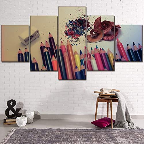 GHTAWXJ puntenslijper kleur potlood afbeelding muur decoratief schilderij klaslokaal slaapkamer kunstwerk een set 5 panelen posters