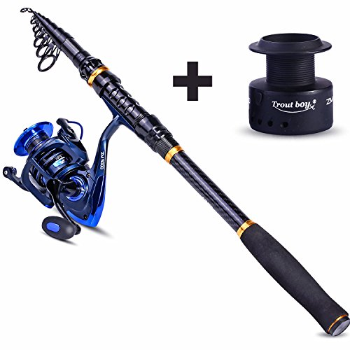 TROUTBOY Fishing Rod and Reel Combos Carbon Fiber Telescopic Fishing Pole with Reel Combo Kit for Outdoor Travel Saltwater Freshwater Fishing