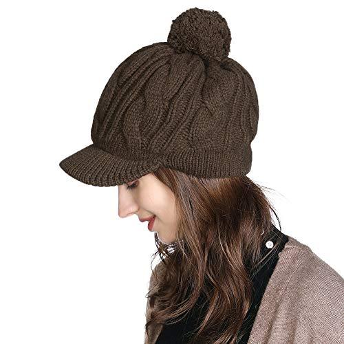 Fancet Damen 100% Wolle Strickmütze Bommelmütze mit Schirm Skimütze Kaffeebraun
