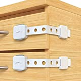 Cabinet Strap Locks-6pack Baby Proofing Latches with Double Locks,Super Strong Adhesive Fridge Lock,Adjustable Strap Drawer Latches,Dishwasher Locks,Toilet Locks