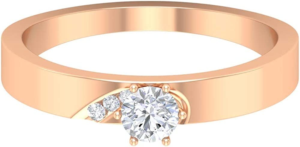 Rosec Jewels – Wedding Band Ring, Solitaire Ring with 1/4 CT HI-SI Diamond, 14K Gold
