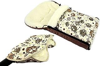 BAMBINIWELT KOMBI ANGEBOT Muff/Handwärmer + universaler Winterfußsack (108cm), auch geeignet für Babyschale, Kinderwagen, Buggy, aus Wolle im Eulendesign (Motiv $5)