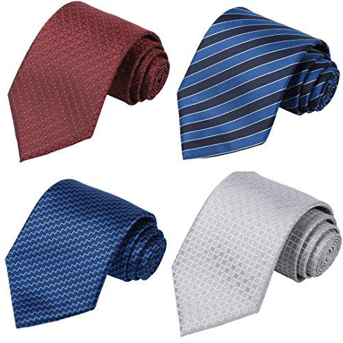 KissTies 4PCS Long Ties 63'' XL Necktie Blue Red Silver Tie + 1 Magnetic Boxes