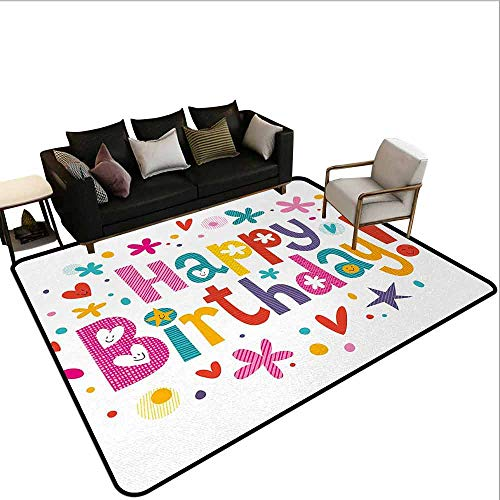 MsShe Slaapkamer tapijt Verjaardag, Multi kleuren plak van aardbei taart partij instellen met hoeden ballonnen presenteert sterren, Multi kleuren