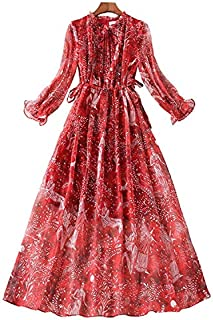Spring Women National Style Floral Chiffon Dress High Quality (Color : Red, Size : M)