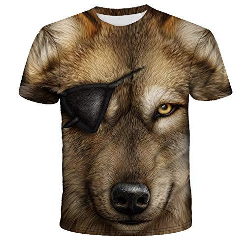 3D Gedrucktes Großes T-Shirt Loses Kurzärmliges Top-Sommerhemd Wolf Sharp Glasses Animal-E_Xs