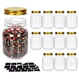 12 Pack 500 ml 16 oz Glass Mason jars With Regular Mouth Lids, Perfect Containers for Jam, Honey, Candies,Wedding Favors, Decorations, Baby Foods. Included 1 Pens and 20 Labels.