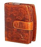 MATADOR Damen Portemonnaie Echt Leder – mit RFID/NFC Schutz - Geldbörse Blumen Design - Geldbeutel inkl. Geschenk-Box