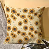 Kerzen Sunflower Throw Pillow Covers 18x18 inch Couch Summer Farmhouse Decorative Pillows Cases Protector for Home Living Room Sofa and Bed