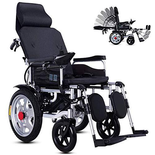 GGD Elektrorollstuhl Faltbarer Elektrischer Rollstuhl, Elektro-Rollstuhl mit Kopfstütze und Li-Ion Battery 20Ah, für ältere und behinderte Menschen,Schwarz