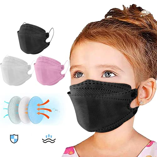30 Pcs Kids Face_Mask Disposable KF94_Mask Multicolor, 4 Layers and 3D Fish-shaped Protective Face Covering Design, Big Facial Space for Flexible Facial Movements