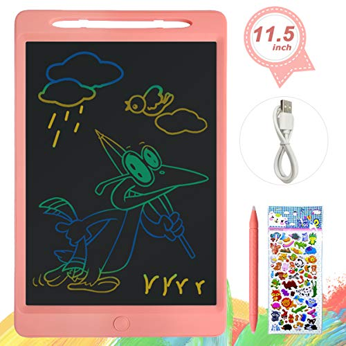 ERAY Tablet de Escritura LCD 11.5 Pulgada Colorida, Función de Bloqueo/Botón de Eliminación/Doble Punta del Lápiz/USB Carga/Anti-Golpes, Tablero de Mensaje & Dibujo para los Niños, Rosa