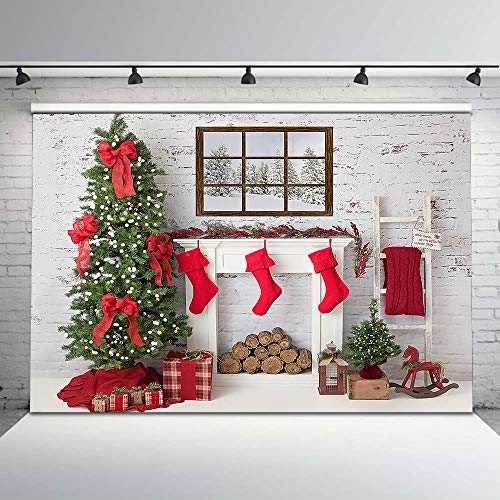 Avezano 8x6ft Christmas Fireplace Backdrop Red Christmas Stocking Vintage Wall Xmas Tree Photography Background Winter Holiday Family Newborn Baby Children Kids Backdrops for Photographers