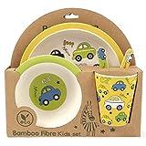 ORNAMI 5-teiliges Bambus-Geschirrset für Kinder, Autos Design - Kinder-Geschirrset mit Teller, Kleinkindbesteck, Bambusfaser Schale und Kinderbecher - umweltfreundlich, BPA-frei und spülmaschinenfest