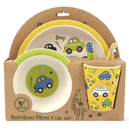 ORNAMI 5-Piece Bamboo Dinner Set for Children, Cars Design - Kids Dinner Set Includes Round Bamboo Plate, Toddler Cutlery, Bamboo Bowl and Kids Cup - Eco Friendly, BPA Free and Dishwasher Safe