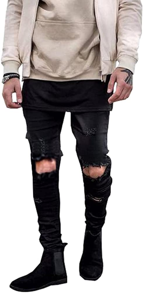 LONGBIDA Men's Ripped Skinny Distressed Jeans Destroyed Slim Fit Stretch Biker Pants
