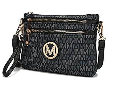 MKF Crossbody Bags for Women - Removable Adjustable Strap Handbag Wristlet - Small Vegan Leather Messenger Purse Black