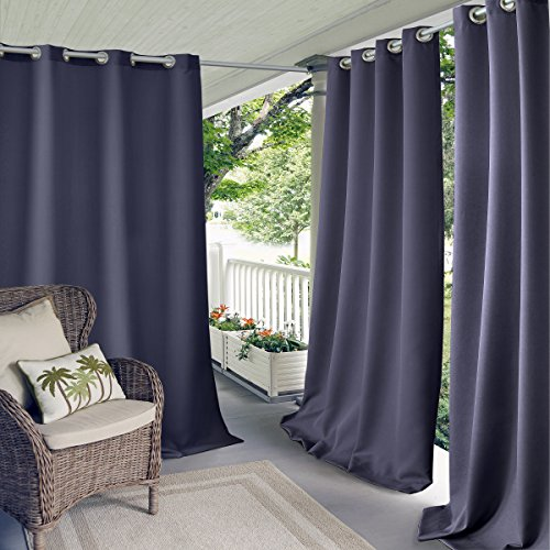 "Elrene Home Fashions Indoor/Outdoor Solid Grommet Top Single Window Curtain Drape, 52"" X 84"" (1 Panel), Blue"
