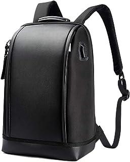 Mochilas para hombres, mochila para hombres, elegantes hombres impermeables al aire libre impermeable a prueba de agua Academia de negocios Mochila de cuero de cuero, con puerto de carga USB lucar