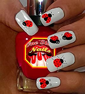 Ladybug Waterslide Nail Decals by One Stop Nails V1A.