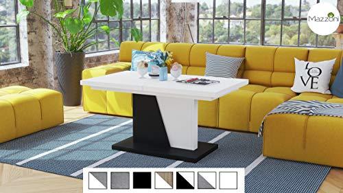 Design Couchtisch Tisch Noir ausziehbar 120-160 x 70 x 60cm Esstisch (Weiß/Schwarz Matt)