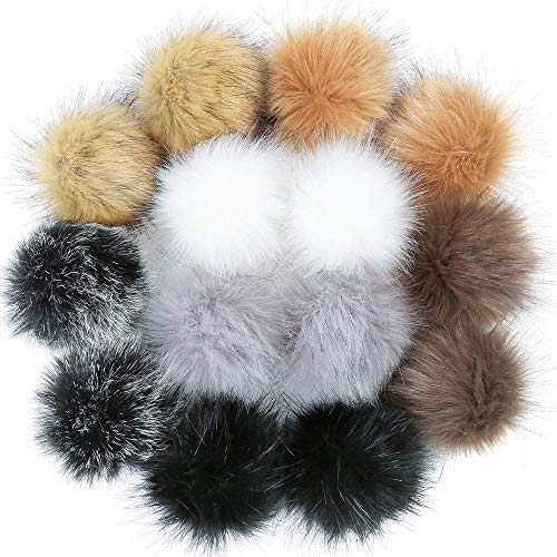 AMhomely Künstlicher Haarball Nachahmung Fuchs Waschbär Haarkugel - DIY Faux Fur Fluffy Pompom Ball for Hats Shoes Scarves Keychains Bag Charms (14PC)