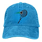 Ahdyr Pelota de Tenis Negra y Raqueta Sombreros de Mezclilla Lavados Gorra de béisbol Hombres Mujeres-Negro Pelota de Tenis y Raqueta/Azul