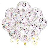 Outgeek Globos de Confeti, 20 Piezas 12' Estrellas de Vistoso Globos de Confeti Globos de Látex Decoración de Cumpleaños en Globo para el Fiesta Baby Shower Graduación de la Boda Decoración