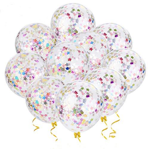 """Outgeek Globos de Confeti, 20 Piezas 12"""" Estrellas de Vistoso Globos de Confeti Globos de Látex Decoración de Cumpleaños en Globo para el Fiesta Baby Shower Graduación de la Boda Decoración"""