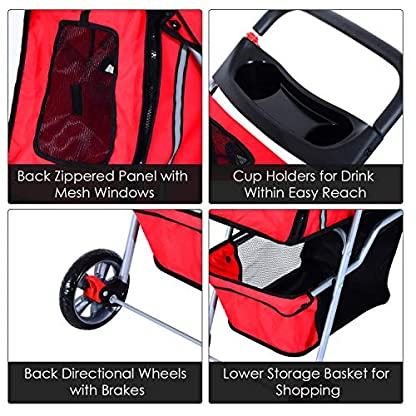PawHut Pet Stroller Cat Dog Basket Zipper Entry Fold Cup Holder Carrier Cart Wheels Travel Red 2
