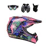 DOT Certified Adult Dirt Bike Helmet for Men Women, Lightweight Off Road ATV UTV Motocross Helmet with Goggles Neck Gaiter Gloves, Downhill MX MTB BMX Four Wheeler Helmet,Pink,S