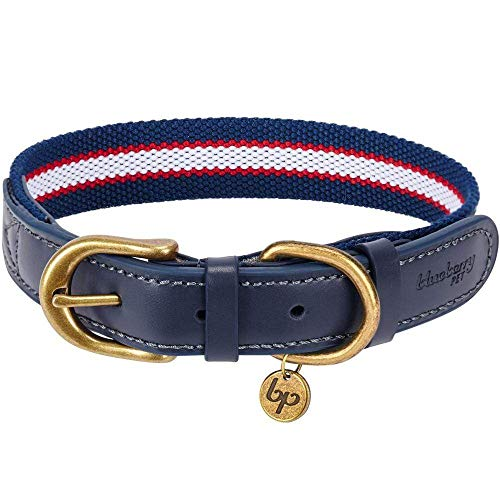 Blueberry Pet 8 Colors Soft & Comfy Genuine Leather & Polyester Combo Adjustable Dog Collar - Classic Staple Striped in Navy White and Red, Medium, Neck 15'-18'