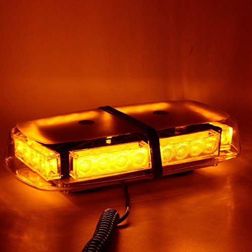 WoneNice LED Strobe Light, Amber 24 LED High Visibility Emergency Safety Warning Flashing Light Bar w/Magnetic Base &16ft Straight Cord and Cigarette Plug for 12V Trucks,Snow Plow and Vehicles