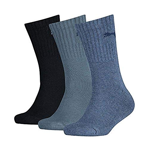 PUMA Kinder SPORT JUNIOR 3P Socken, denim blue, 35-38 (3er Pack)
