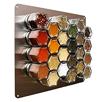 Gneiss Spice Stainless Finish Wall Plate Base for Magnetic Spice Jars Medium 10x12 Inches  Jars Not Included
