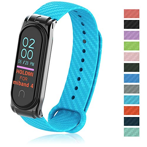 PULILANG MI Strap Replacement Bands for Xiaomi MI Band 4 Adjustable Smartwatch Wristband xiaomi Strap Carbon Fiber TPU