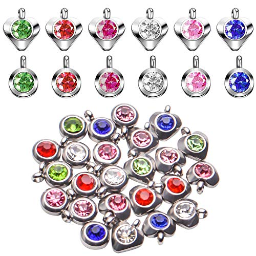 BronaGrand Crystal Pendant Charms, 24pcs Mixed Crystal Birthstone Charms Bead Rhinestone Pendants with Rings Craft Supplies for DIY Bracelet Necklace Earring Jewelry Making, 6 Colors and 2 Shapes