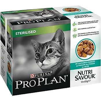 PRO PLAN Nutrisavour Stérilisé - Au Poisson de l'océan  en gelée - 10 x 85g - Sachets repas pour chat adulte