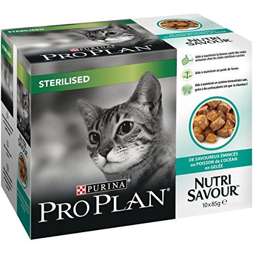 PRO PLAN Nutrisavour Sterilizzato – al pesce dell oceano in gelatina – 10 x 85 g – Sacchetti per gatti adulti