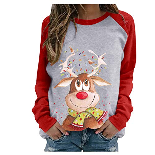 Pullover Tops for Women Christmas Elk Graphic Sweatshirts Casual Long Sleeve Solid Color Blouses Shirts Sweaters