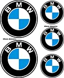 Adesivi riflettenti compatibili con BMW / 5 unità - Misure riflesse nell'immagine/Adesivo riflettente Logo BMW per moto, auto, casco, bici
