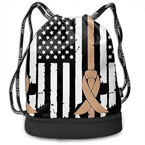 jenny-shop Kinderkrebs-Bewusstseins-USA-Flag-1 Drawstring-Beutel Multifunktionsschnur-Rucksack Gurt-Rucksack-Rucksack-Turnbeutel