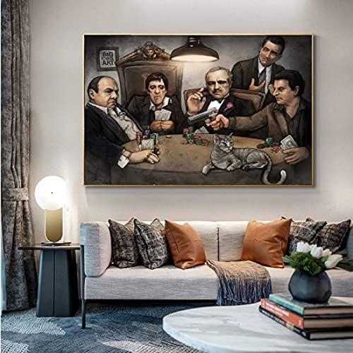 LYHNB Lienzo decorativo para pared, 30 x 50 cm, sin marco, pintura al óleo, mafia, cuadro impreso, cuadro decorativo, sala de estar, decoración del hogar