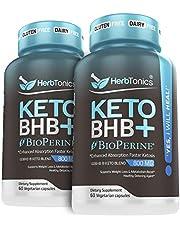 HerbTonics Keto BHB+ BioPerine for Enhanced Absorption Faster Ketosis Vegan Capsules Keto bhb Salts Supplement for Women and Men, Pack of 2.
