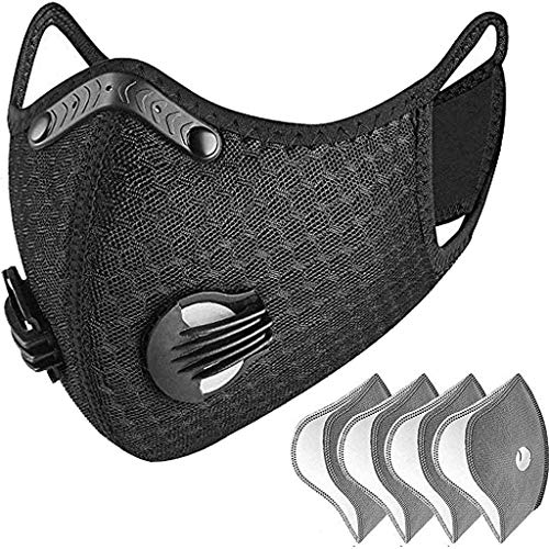 Dust Breathing Mask Activated Carbon Dustproof Mask with Extra Carbon Filters Half Balaclava Style for Skiing, Snowboarding, Motorcycling & Cold Weather Winter Sports. Protect Your Nose, Mouth,