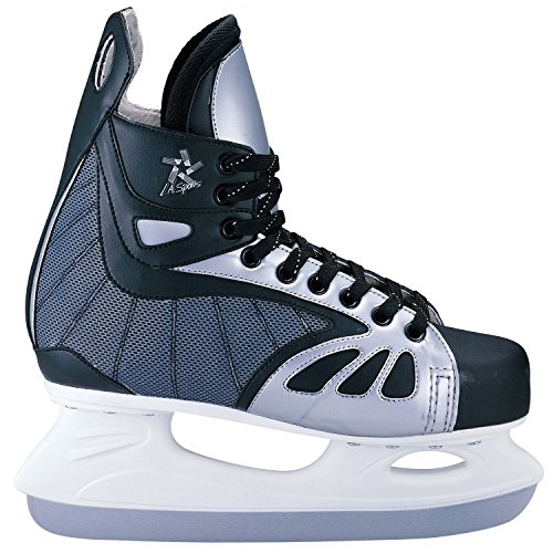 L.A. Sports Schlittschuh Ice Hockey Skates I Softboot Eishockey Schuhe gefüttert I Kinder + Jugend Doppelgröße Gr. 34/35
