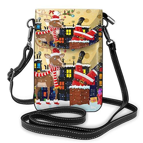 Santa Claus mit Tasche mit Geschenken im Haus Kamin (2) Kleine Umhängetasche Crossbody Handy Portemonnaie – Frauen PU Leder Handtasche mit verstellbarem Riemen für den Alltag