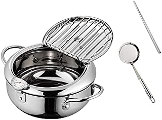 Tamkyo Japanese Style Tempura Fryer Pot with Thermometer and Oil Drip Rack Fried Chicken Non-Stick Cooking Tools 24cm