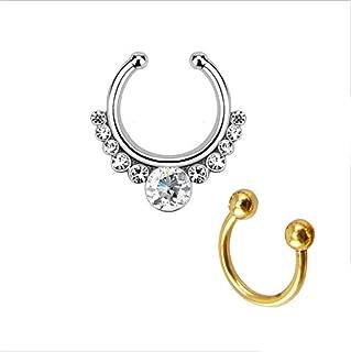 Honbay Fake Septum Clicker with Gems Non Piercing Hanger Clip Nose Ring