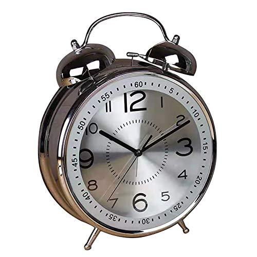 """Qchengsan 4"""" Twin Bell Alarm Clock with Stereoscopic Dial, Backlight, Battery Operated Loud Alarm Clock (Silver)"""